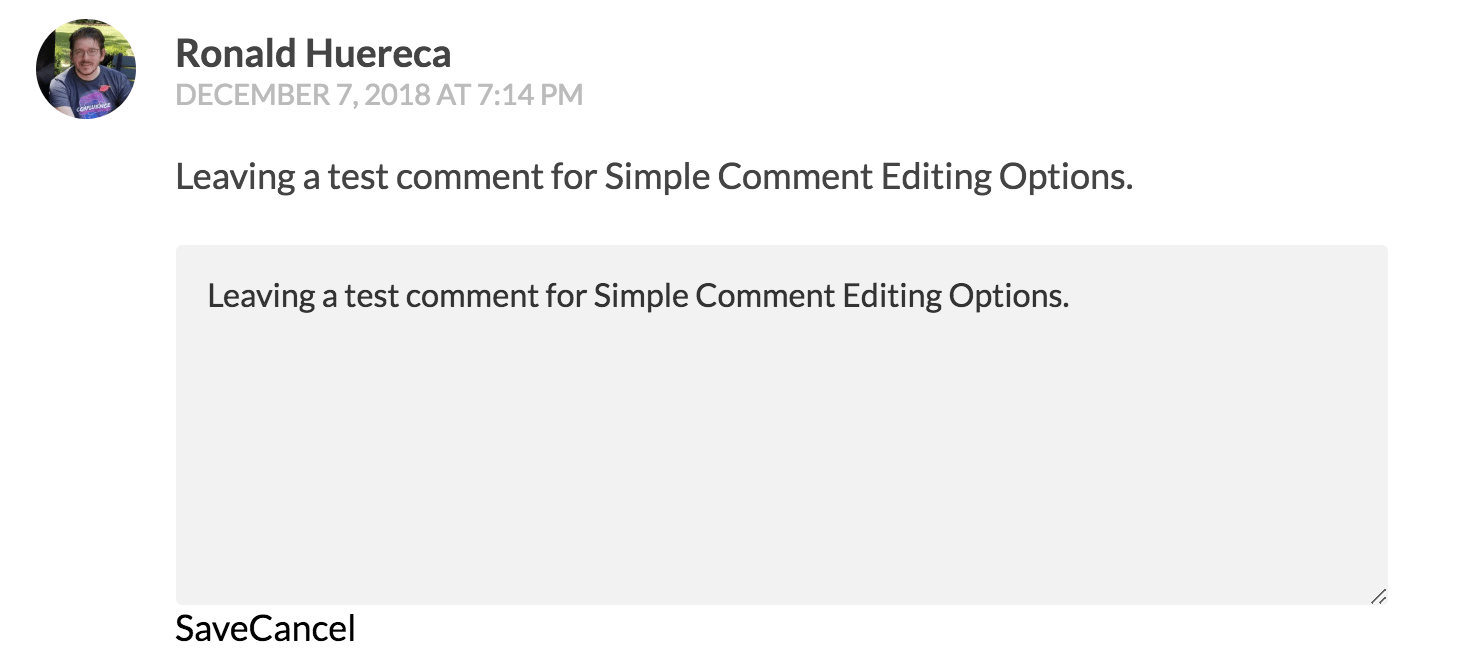 Simple Comment Editing Options Documentation Mediaron Llc Timer Adjust On The Front End
