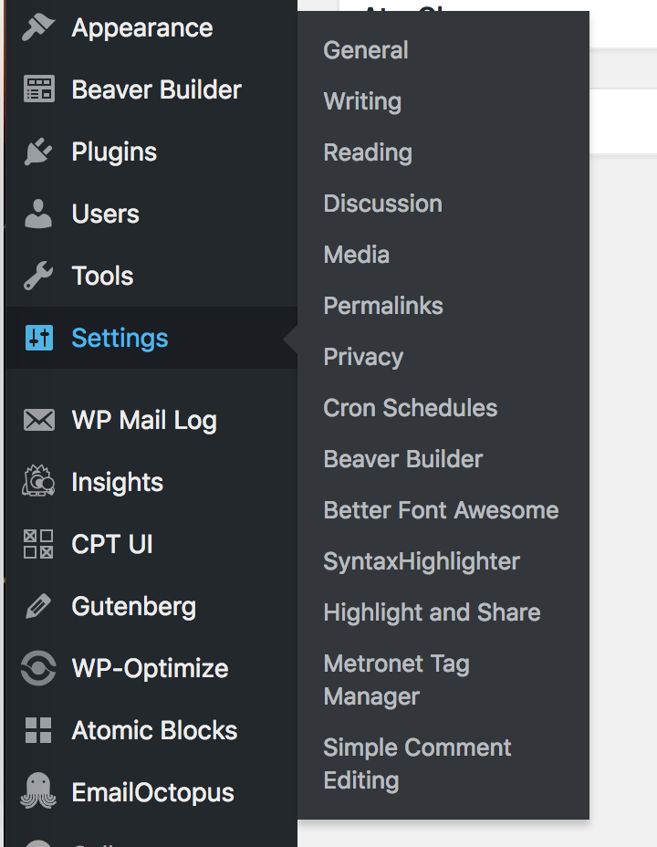 Simple Comment Editing Options Settings