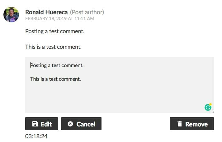 Dark Theme for Simple Comment Editing Options