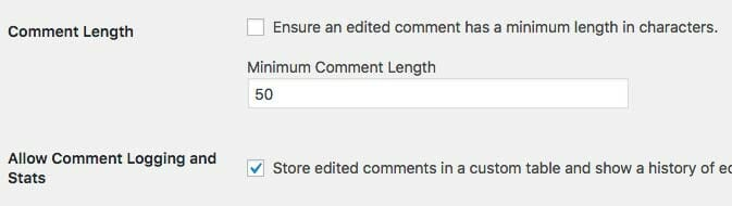 Minimum Comment Length and Comment Logging