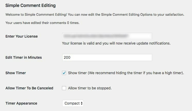 Timer Options Admin Panel Options