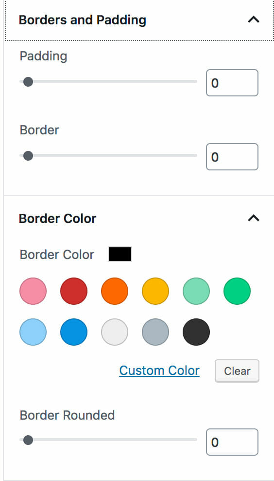 Custom Post Types Block Border, Padding, and Background Options