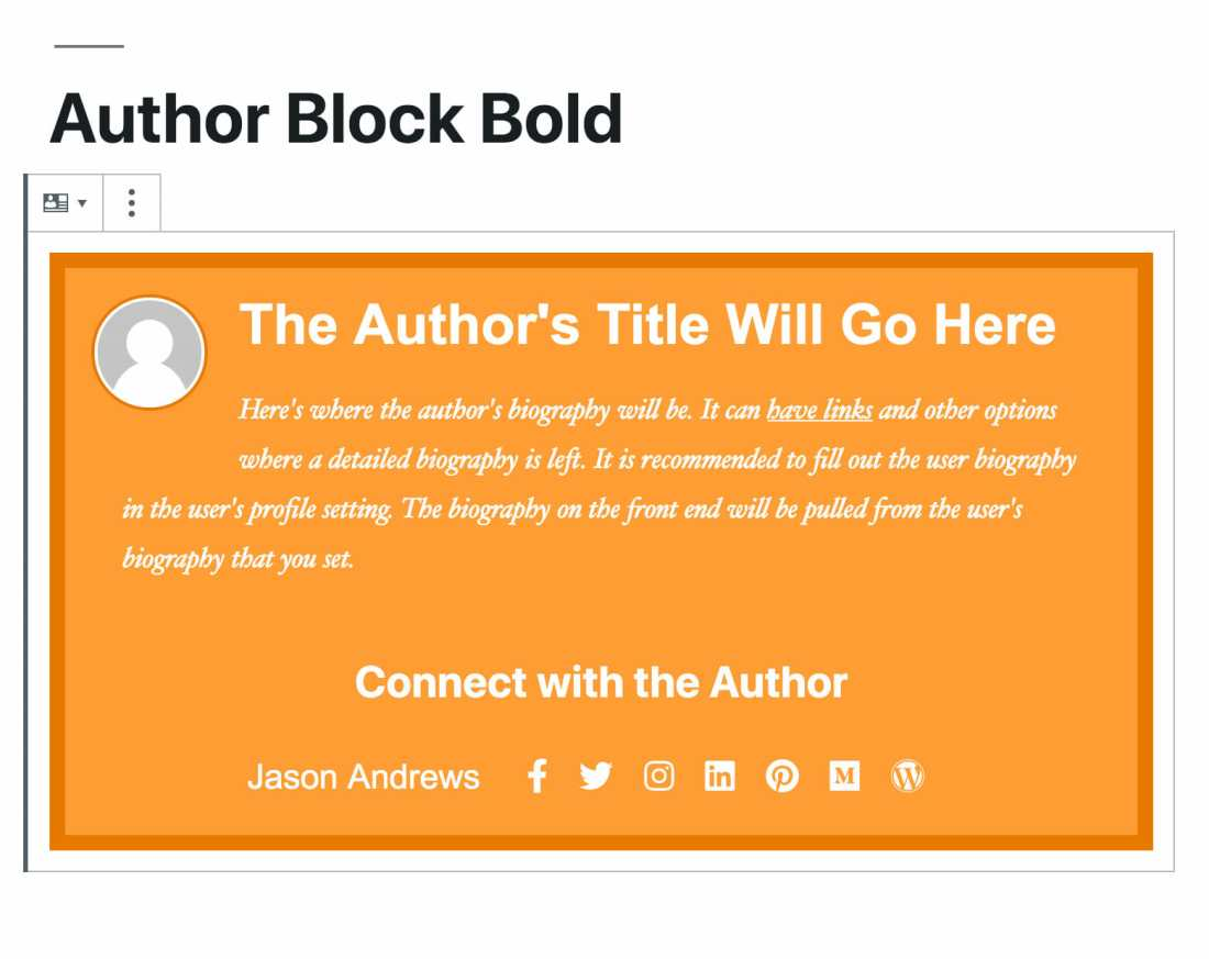 Author Box Block Preview Using the Bold Theme