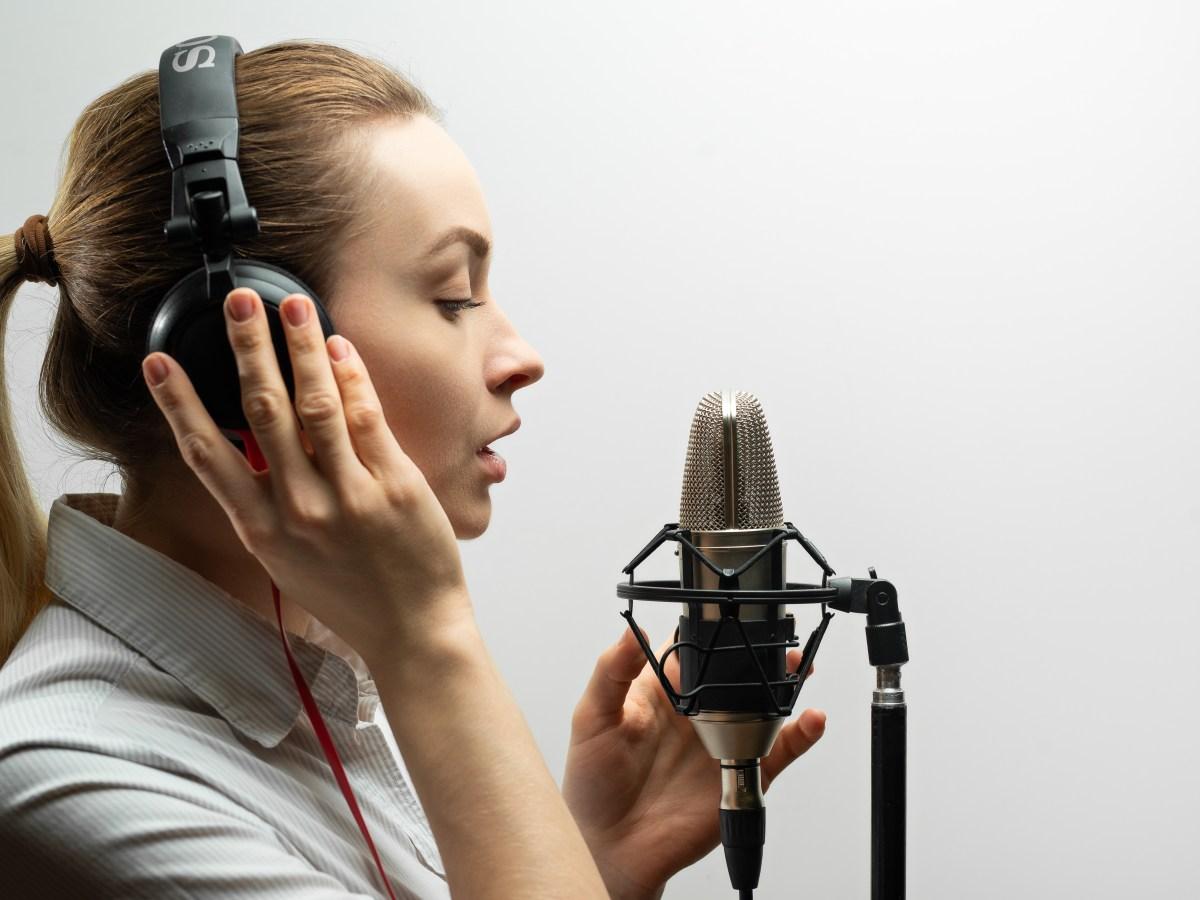 Female voice actor recording