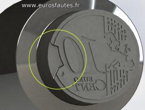 Modélisation 3D d'un coin ébréché sur le revers