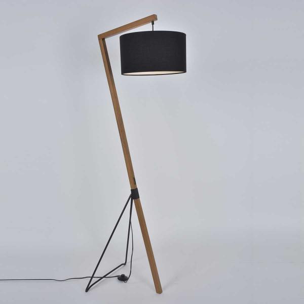 lampadaire pied chevalet noir et bois