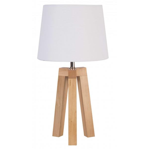 lampe trepied bois abat jour blanc