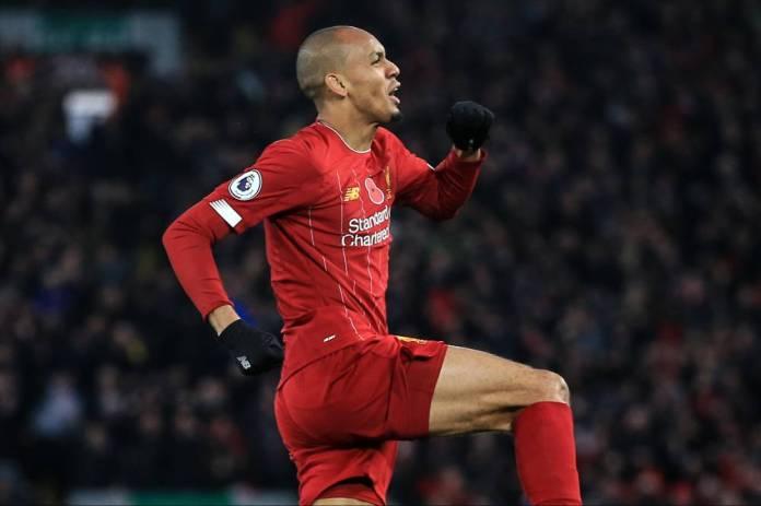 10th November 2019 - Premier League - Liverpool v Manchester City - Fabinho of Liverpool celebrates scoring their 1st goal - Photo: Simon Stacpoole / Offside. (Simon Stacpoole / Simon Stacpoole / Offside)