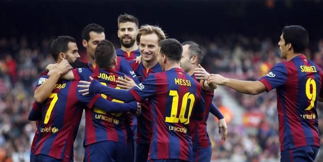 Cinq buts, les Catalans ont eu de nombreuses occasions de manifester leur joie malgré une prestation peu convaincante dans le jeu. (Reuters)