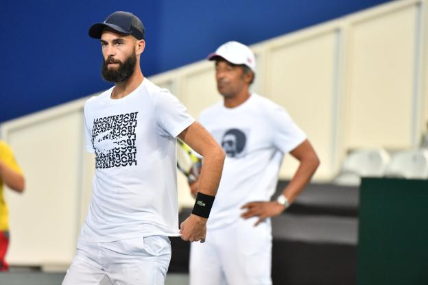 Tennis - Davis Cup - Benoit Paire, concentrated during training this Thursday morning. (P. Lahalle / The Team)