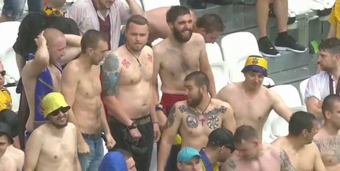 Football - Euro - Des supporters ukrainiens dans les tribunes du Parc OL, lors du match contre l'Irlande du Nord.