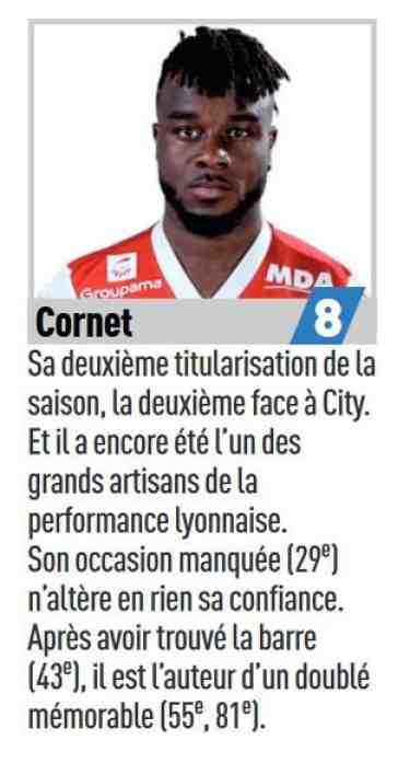 Le commentaire de la prestation de Maxwel Cornet dans L'Équipe du 28/11/2018. (L'Équipe)