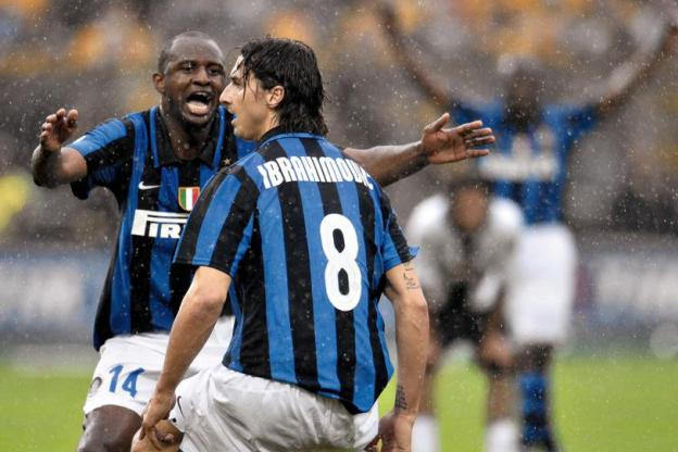 Football - Football - May 2008. Patrick Vieira congratulates Zlatan Ibrahimovic after a brace of the Swedes in the Inter Milan jersey during a Serie A match against Parma. (CD)