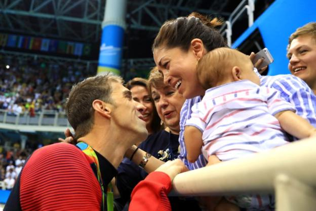 Swimming - Phelps Michael (USA) - Michael Phelps here in Rio with his wife,Nicole, and his first son, Boomer. (Seguin Franck / The Team) (Team)