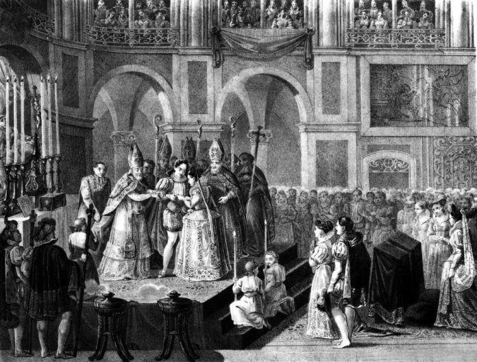 Heinrich von Navarra (zukünftiger König Heinrich IV. Von Frankreich) und Marguerite von Valois 1572, Stich (19. Jahrhundert); (Add.info.: Heirat von König Heinrich von Navarra (Furtur, König von Frankreich Heinrich IV.) und Marguerite de Valois, Königin Margot, 1572 in der Kathedrale Notre Dame genannt), die benedictoin nuptial wird vom Kardinal von Bourbon gegeben (19. Jahrhundert) ) Heinrich von Navarra (zukünftiger König Heinrich IV. Von Frankreich) und Marguerite von Valois 1572, Stich (19. Jahrhundert); Tallandi