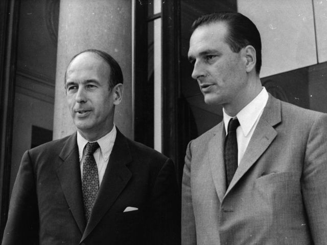 French politician Valery Giscard D'Estaing with finance minister Jacques Chirac.   (Photo by Keystone/Getty Images)