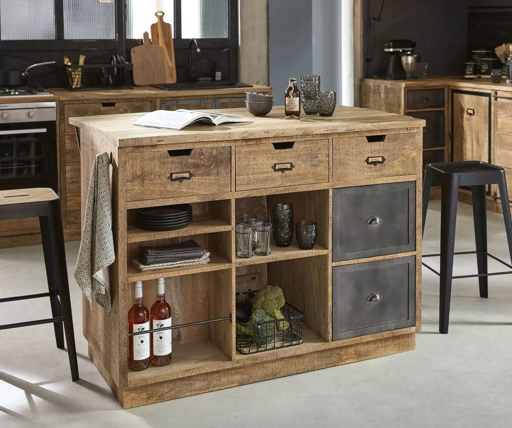 grey metal and mango wood kitchen island maisons du monde