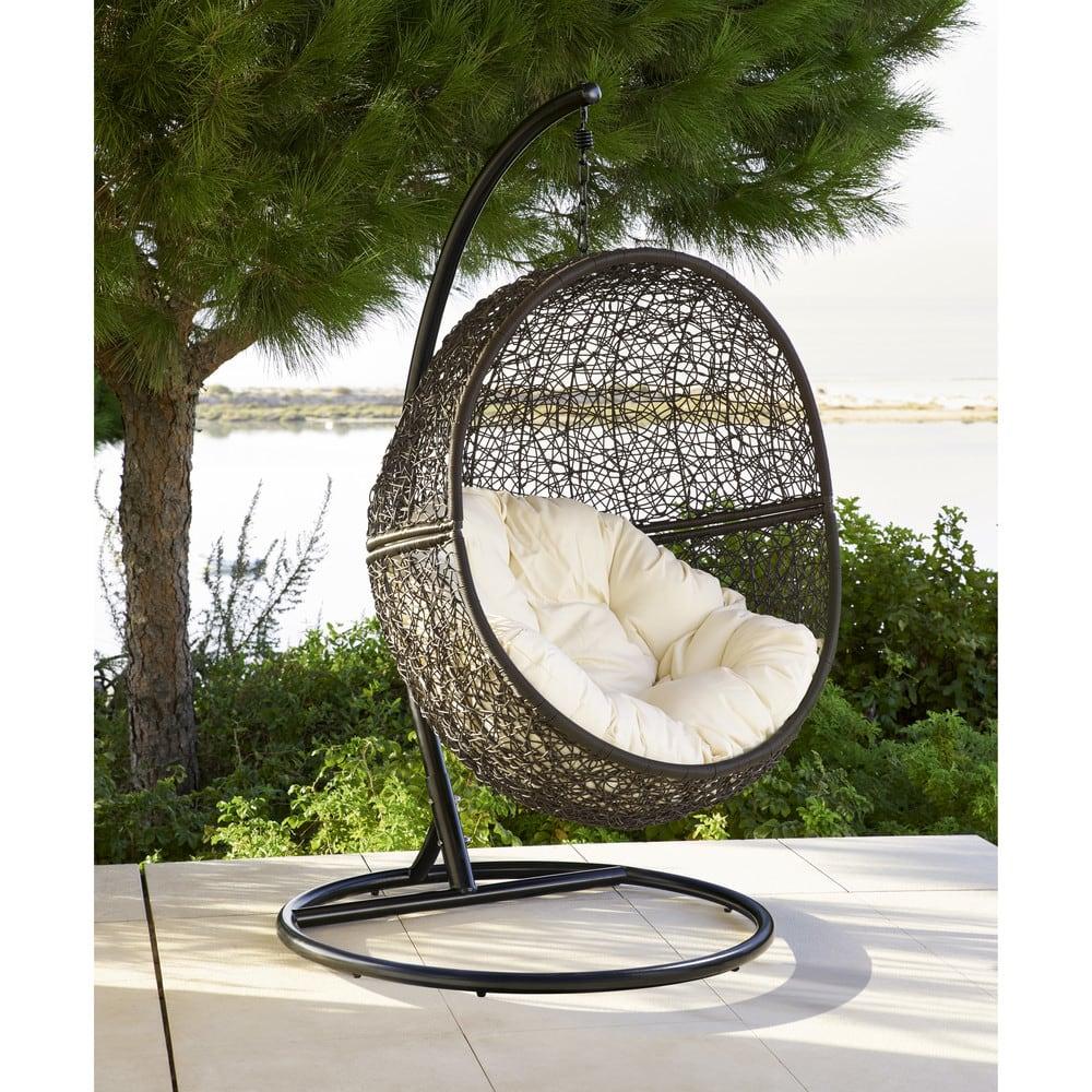 fauteuil suspendu de jardin en resine tressee marron maisons du monde