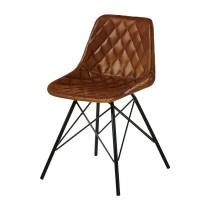Stuhl im Industrial Stil, aus gestepptem Leder, braun ...