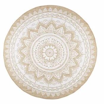 tapis rond en jute et coton blanc d180 maisons du monde