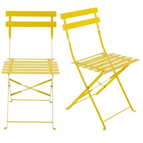 2 chaises pliantes de jardin en metal jaune maisons du monde