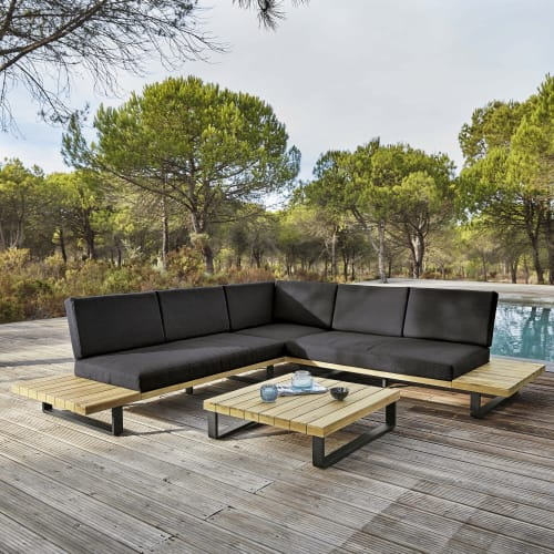 4 5 sitzer gartensitzgarnitur aus aluminium und massivem akazienholz maisons du monde
