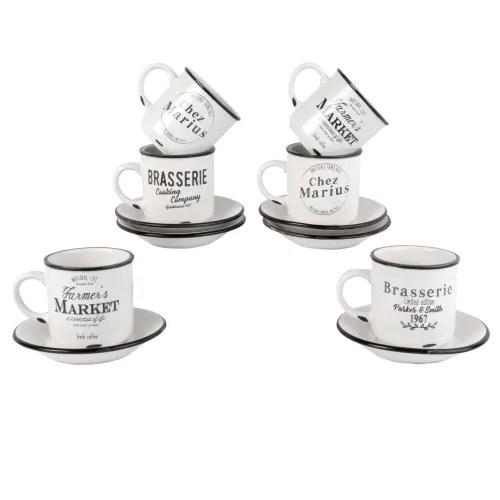 6 tasses et soucoupes en porcelaine avec support maisons du monde