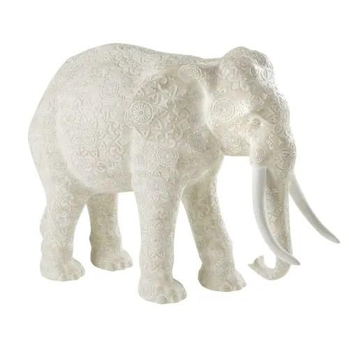 Aged Effect Beige Elephant Statue With Mandala Print H48 Nateo Maisons Du Monde