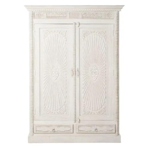 armoire 2 portes 2 tiroirs en manguier massif blanc vieilli maisons du monde