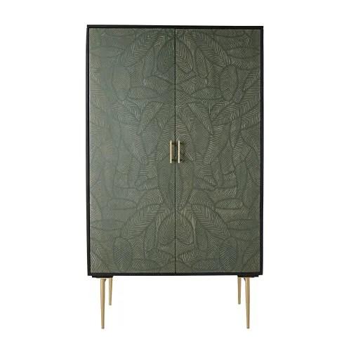 armoire 2 portes en manguier massif noir sculpte motifs feuilles maisons du monde