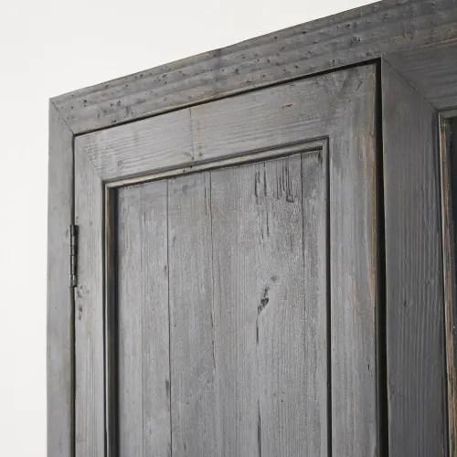 Armoire 2 Portes En Pin Recycle Noir Effet Vieilli Sabi Maisons Du Monde