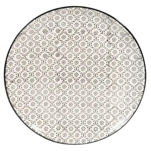 assiette plate en faience blanche motifs graphiques noirs maisons du monde