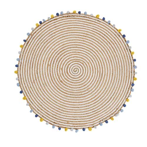 baumwoll juteteppich mit bunten pompons d100 maisons du monde