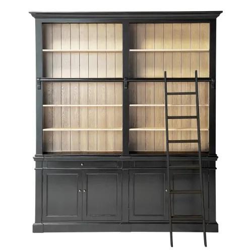 bibliotheque 2 tiroirs 4 portes avec echelle noire maisons du monde