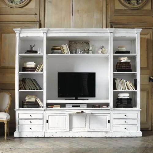 bibliotheque meuble tv en pin massif recycle ivoire maisons du monde