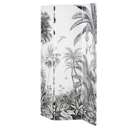 black and white tropical forest print room divider maisons du monde