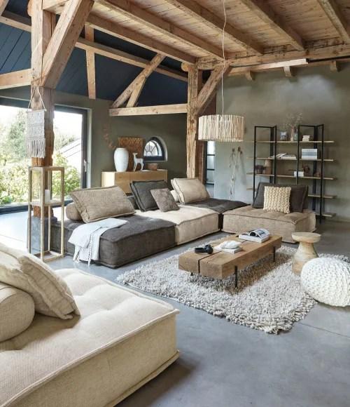 black metal and solid oak coffee table maisons du monde