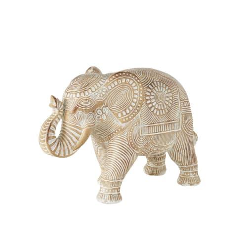 Bleached Brown Mandala Carved Elephant Ornament H28cm Mandala Maisons Du Monde