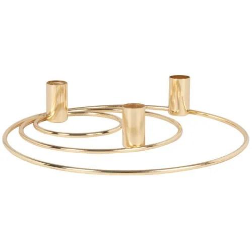 Bougeoir Triple Cercles En Metal Dore Paofait Maisons Du Monde