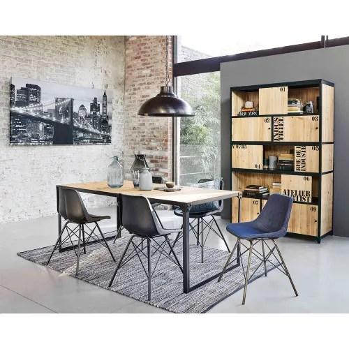 bucherregal im vintage stil mit 5 turen aus tannenholz und schwarzem metall maisons du monde