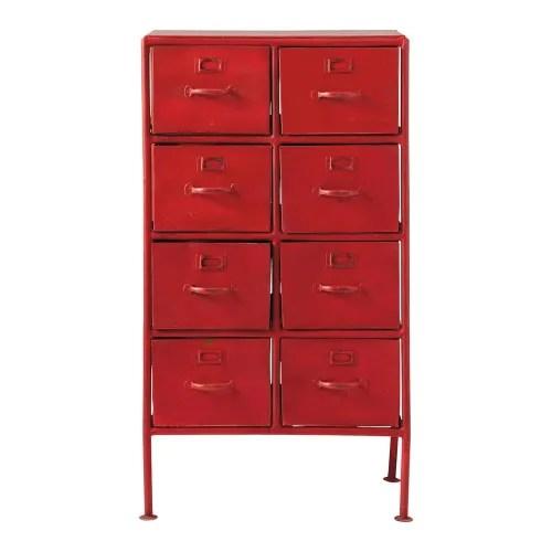 cabinet de rangement indus en metal rouge l 52 cm maisons du monde