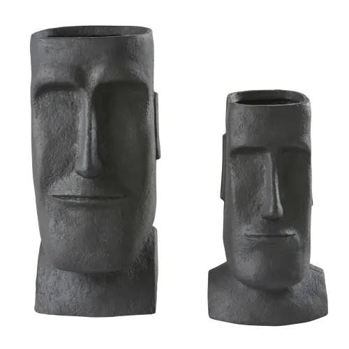cache pots en fibre de verre noir h65 x2 maisons du monde