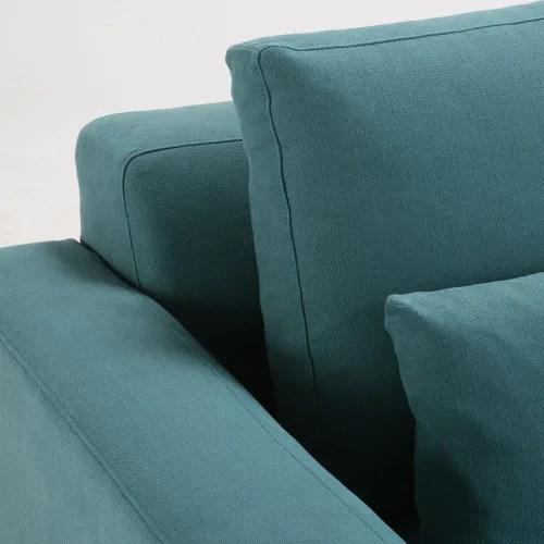 canape 2 3 places en coton et lin bleu canard maisons du monde
