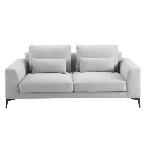canape 2 3 places en coton et lin gris clair maisons du monde