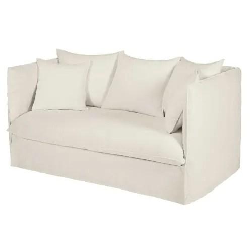 canape 2 places en lin lave blanc maisons du monde