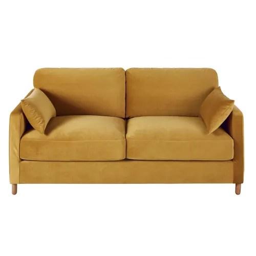 canape lit 3 places en velours jaune moutarde matelas 14 cm maisons du monde