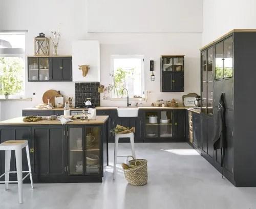 casserolier cuisine 3 tiroirs en manguier massif gris ardoise l80 maisons du monde