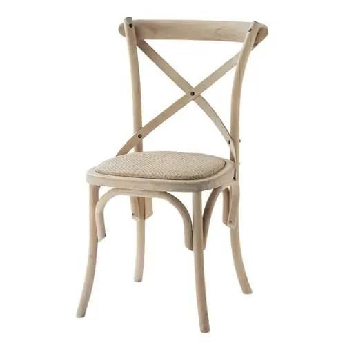 Chaise bistrot en rotin et bouleau Tradition