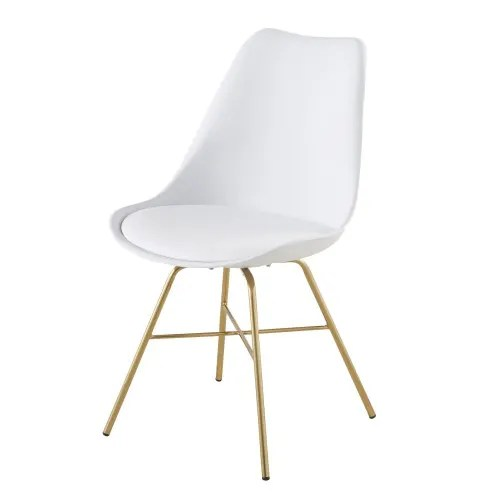 chaise blanche et pieds en metal chrome dore maisons du monde