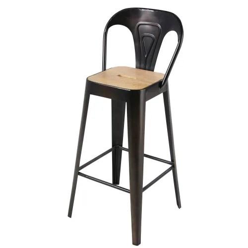 Chaise De Bar Professionnelle En Manguier Et Metal Noir H79 Manufacture Business Maisons Du Monde